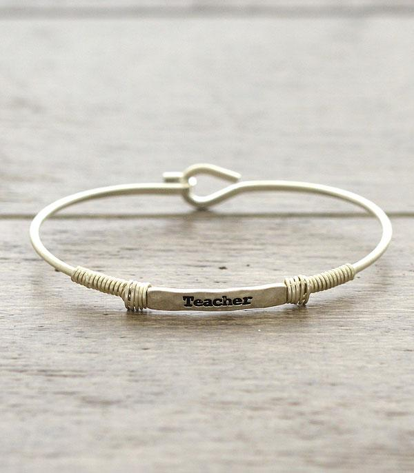 New Arrival :: Wholesale Inspirational Teacher Thin Wire Bracelet