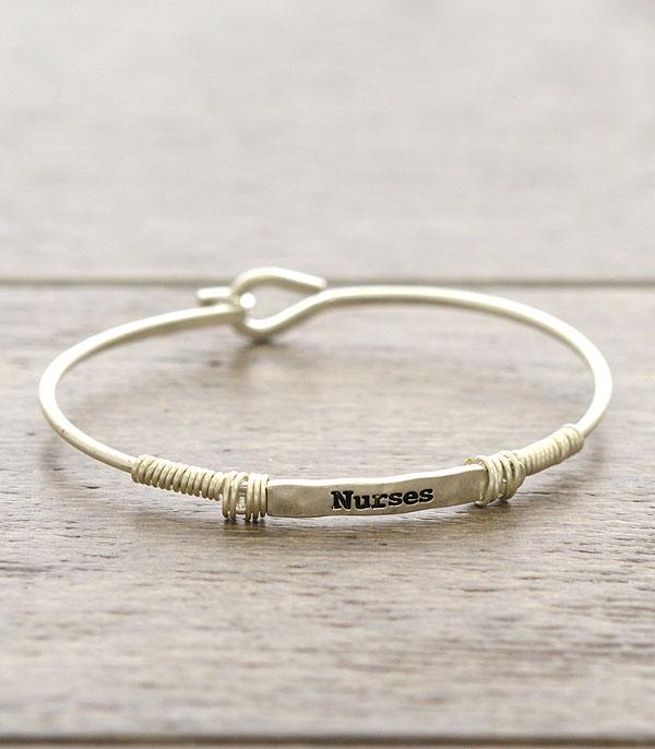 New Arrival :: Wholesale Inspirational Nurse Thin Wire Bracelet