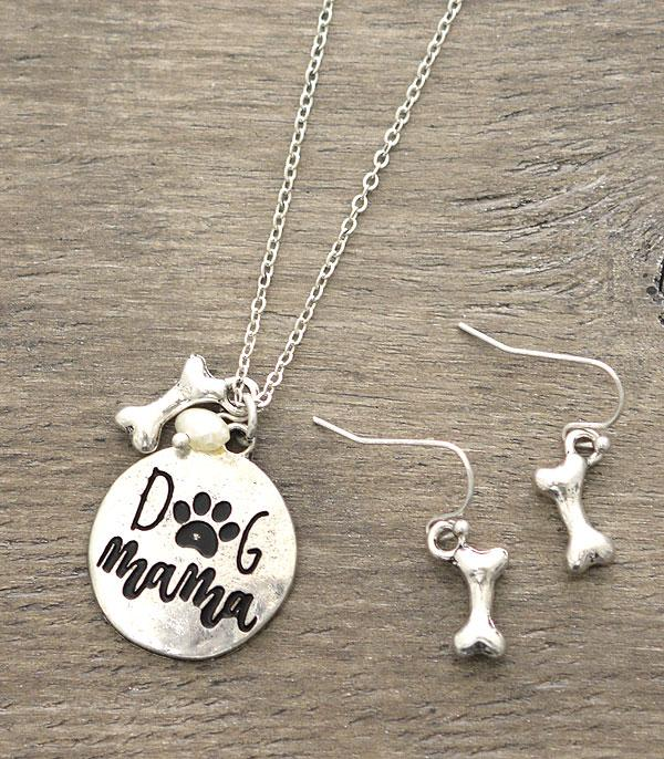 New Arrival :: Wholesale Dog Mama Engraved Silver Necklace Set