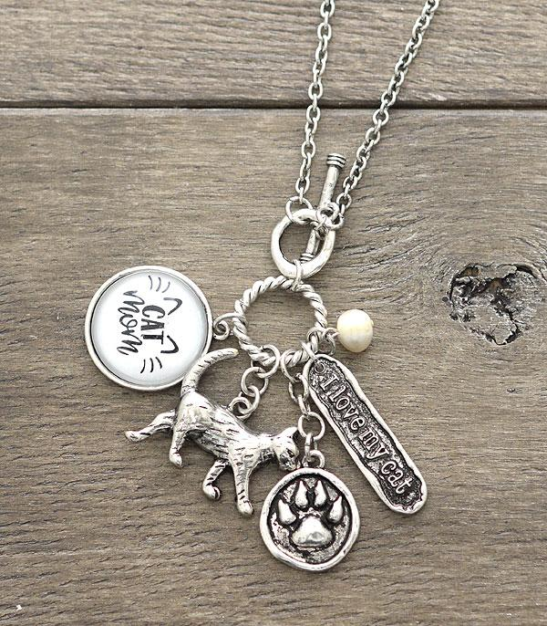 New Arrival :: Wholesale Cat Mom Charm Necklace