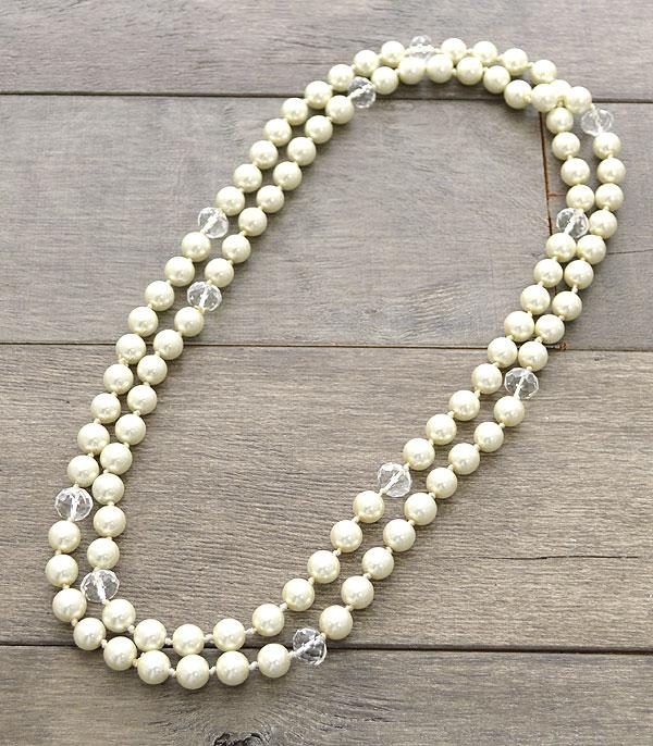 New Arrival :: Wholesale Long Glass Pearl Necklace