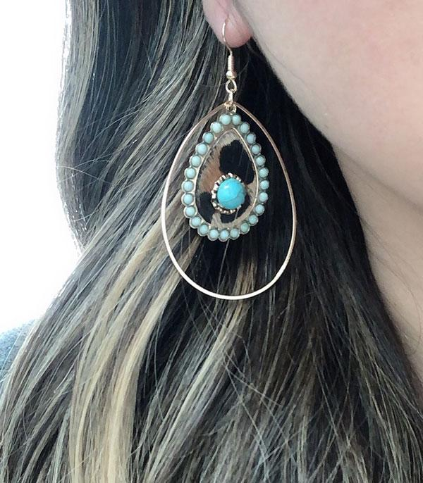 New Arrival :: Wholesale Leopard Turquoise Tear Drop Earrings