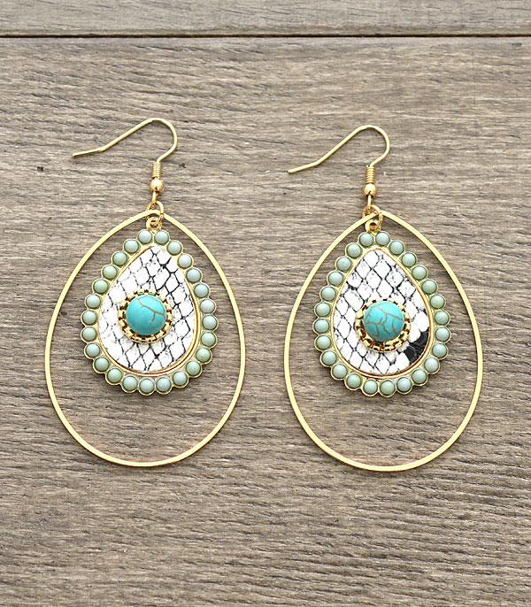 New Arrival :: Wholesale Snake Skin Turquoise Fashion Earrings