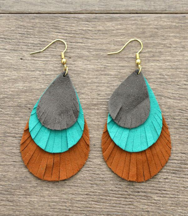 WHAT'S NEW :: Wholesale Suede Leather Tear Drop Earrings