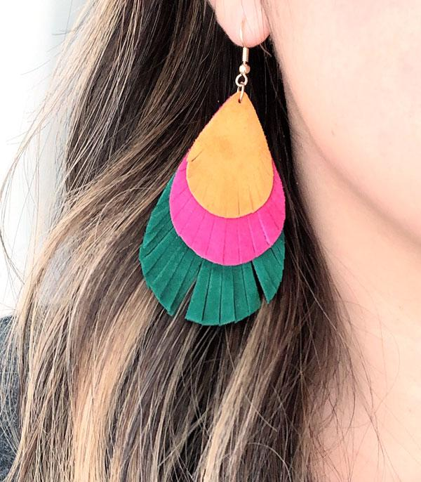 New Arrival :: Wholesale Suede Leather Tear Drop Earrings