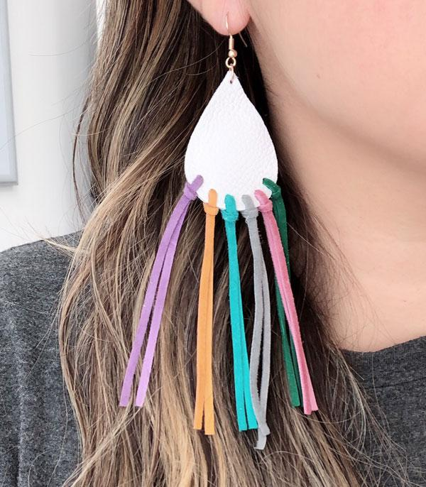 New Arrival :: Wholesale Leather Tassel Tear Drop Earrings