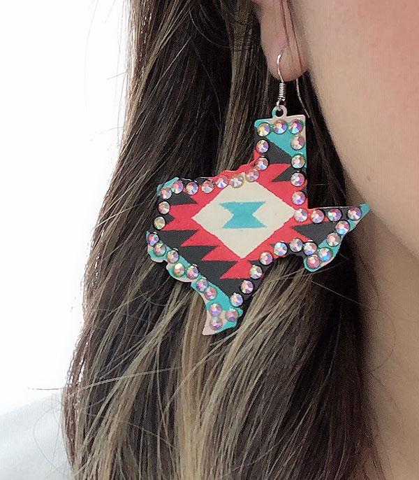 New Arrival :: Wholesale Western Texas Map Aztec Earrings