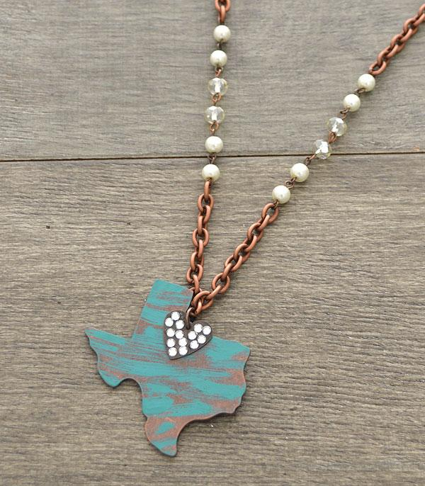 New Arrival :: Wholesale Western Rustic Texas Map Necklace