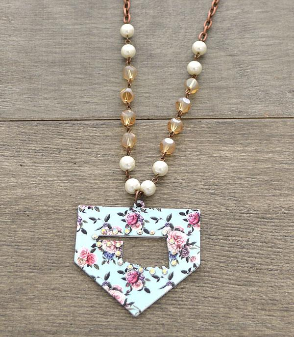 New Arrival :: Wholesale Rustic Floral Oklahoma State Necklace