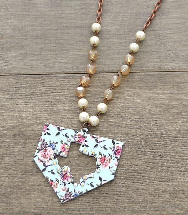 New Arrival :: Wholesale Rustic Floral Texas Map Necklace