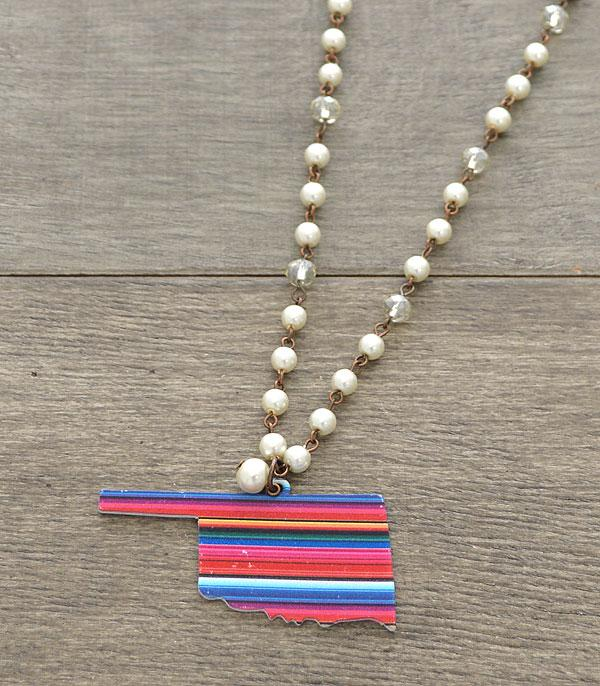 New Arrival :: Wholesale Rustic Oklahoma State Serape Necklace