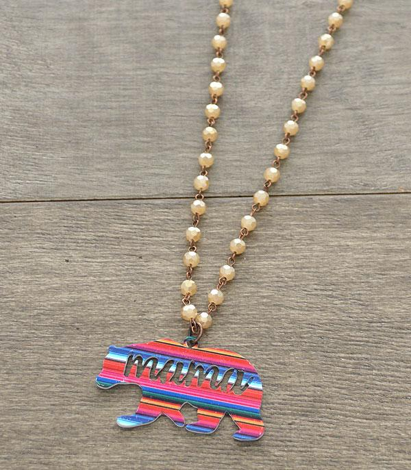 New Arrival :: Wholesale Serape Mama Bear Antiqued Necklace