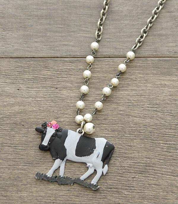 New Arrival :: Wholesale Antiqued Floral Cow Necklace