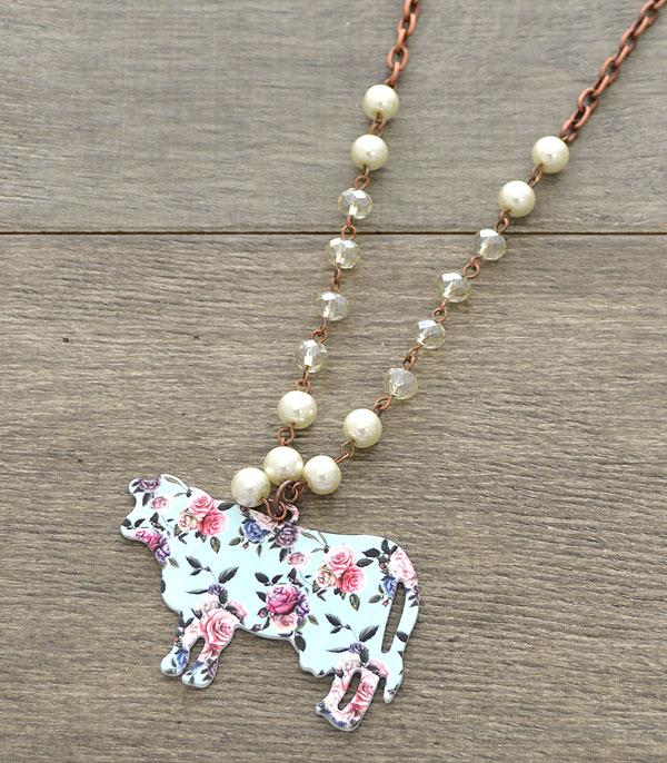 New Arrival :: Wholesale Floral Farm Animal Cow Necklace