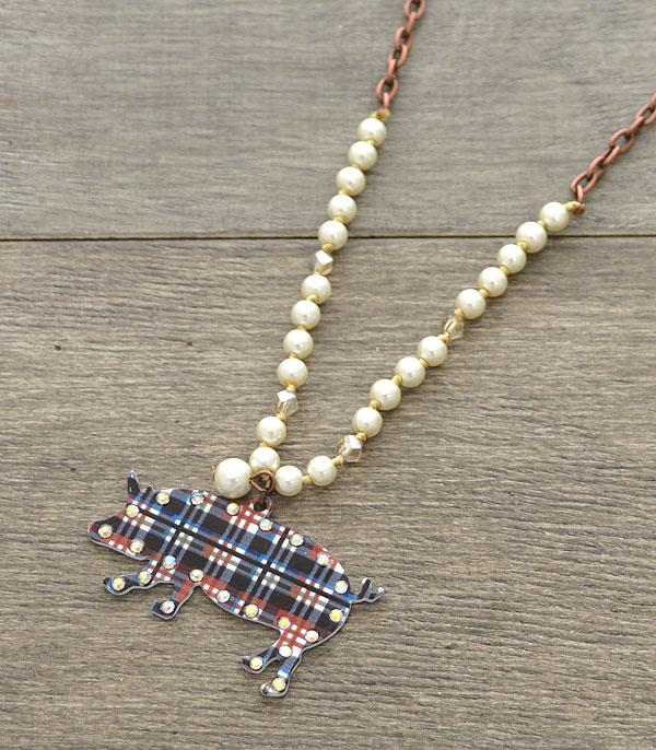 New Arrival :: Wholesale Plaid Farm Animal Pig Necklace