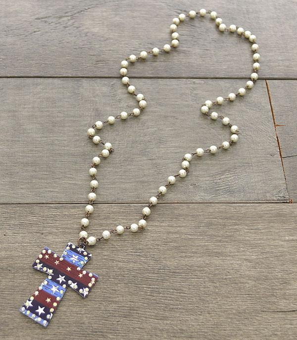New Arrival :: Wholesale Rustic Patriotic Cross Necklace