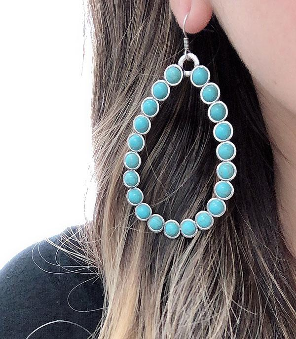 New Arrival :: Wholesale Tear Drop Turquoise Stone Earrings