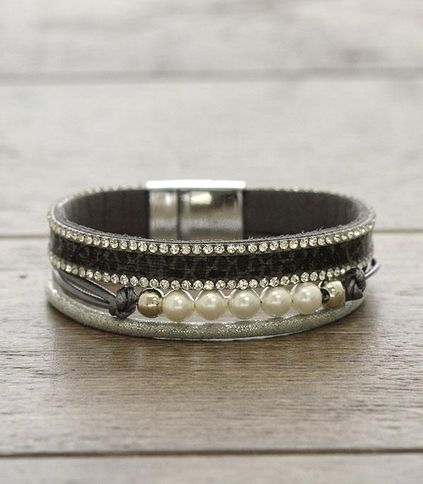 New Arrival :: Wholesale Snake Skin Pearl Mix Bracelet