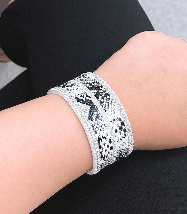 New Arrival :: Wholesale Snake Skin Leather Bracelet