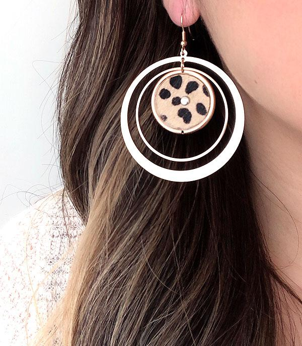 New Arrival :: Wholesale Animal Print Circle Dangle Earrings