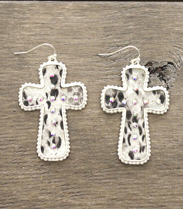 New Arrival :: Wholesale Snake Skin  Cross Fashion Earrings