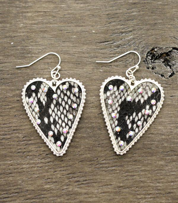 <font color=red>VALENTINE'S</font> :: Wholesale Snake Skin Heart Fashion Earrings