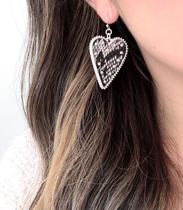 New Arrival :: Wholesale Snake Skin Heart Fashion Earrings