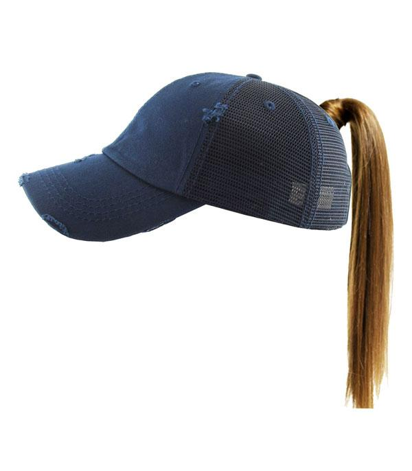 New Arrival :: Wholesale Ponytail Messy Bun Mesh Vintage Ballcap