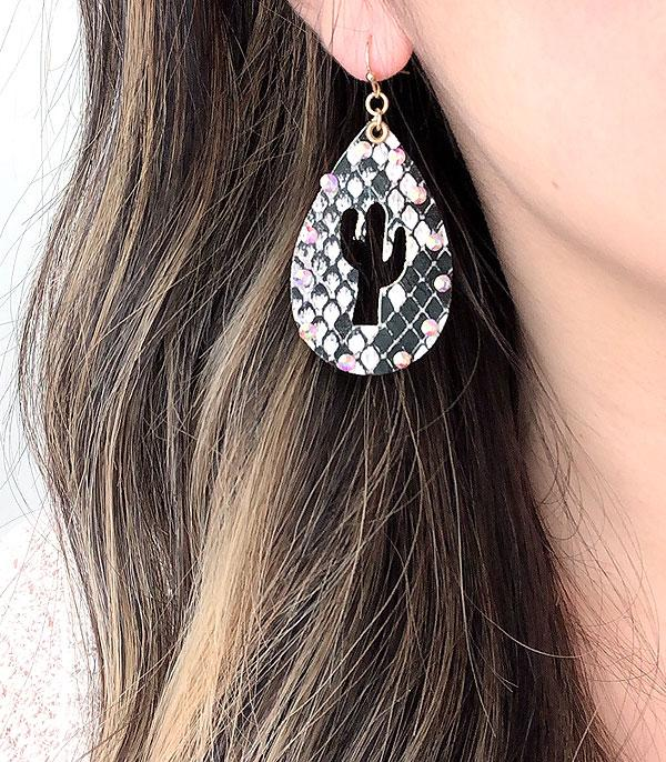 New Arrival :: Wholesale Snake Print Cactus Tear Drop Earrings