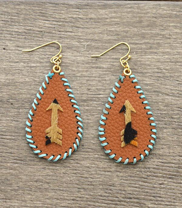 New Arrival :: Wholesale Leather Arrow Whip Stitched Earrings