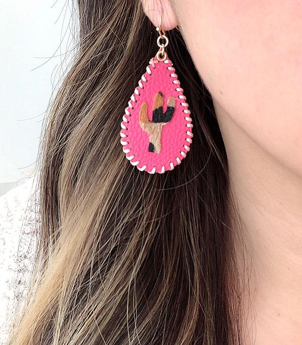 New Arrival :: Wholesale Leather Cactus Tear Drop Earrings
