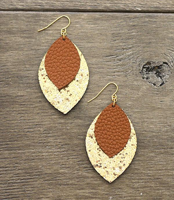 New Arrival :: Wholesale Marquee Glitter Leather Layered Earrings