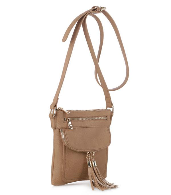 New Arrival :: Wholesale Tassel Accent Crossbody Bag BS-2452