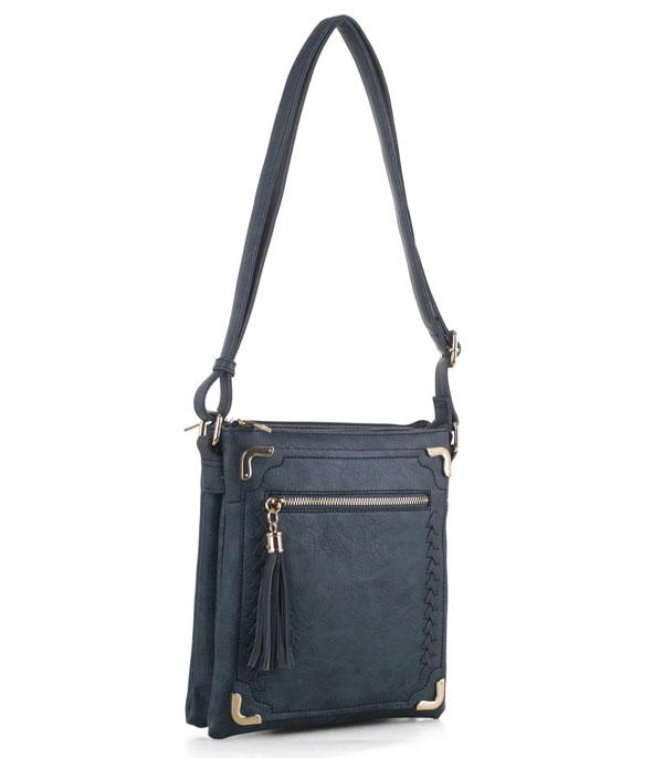 New Arrival :: Wholesale Whipstitched Faux Leather Crossbody Bag