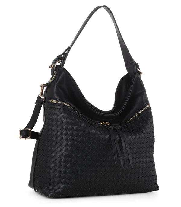 New Arrival :: Wholesale Woven Detail Color Block Hobo