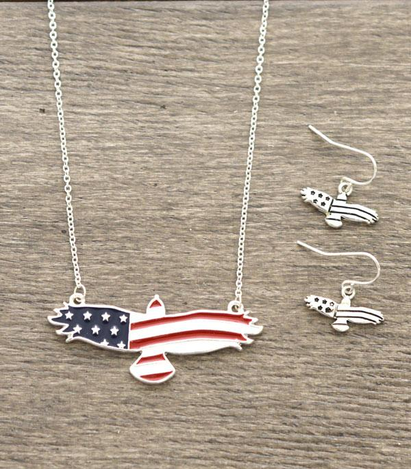 New Arrival :: Wholesale Patriotic USA Eagle Necklace Set