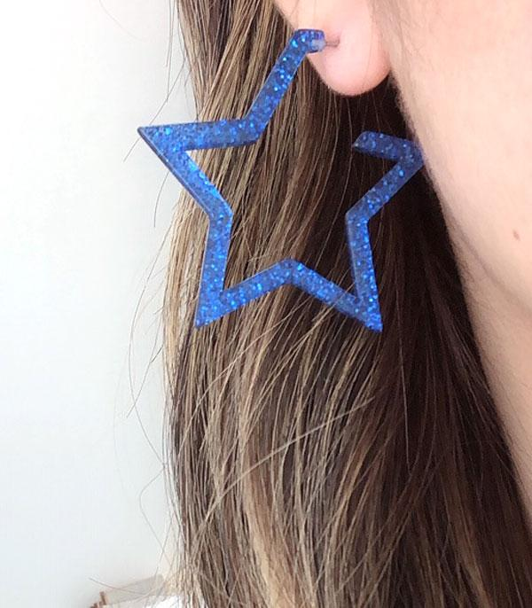New Arrival :: Wholesale Glitter Star Hoop Earrings