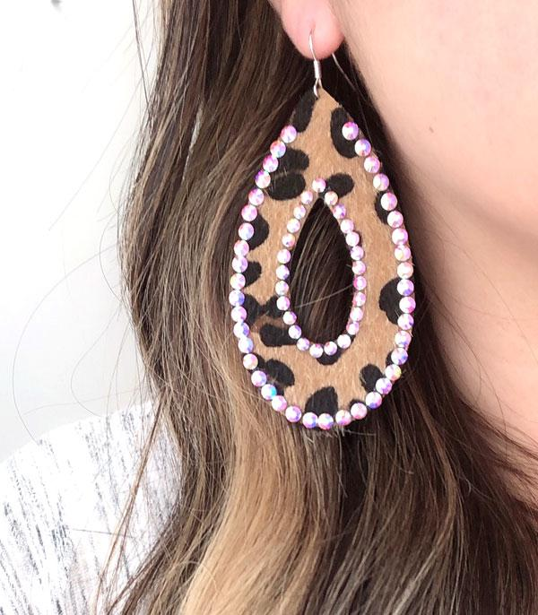 New Arrival :: Wholesale Leopard Tear Drop Leather Earrings
