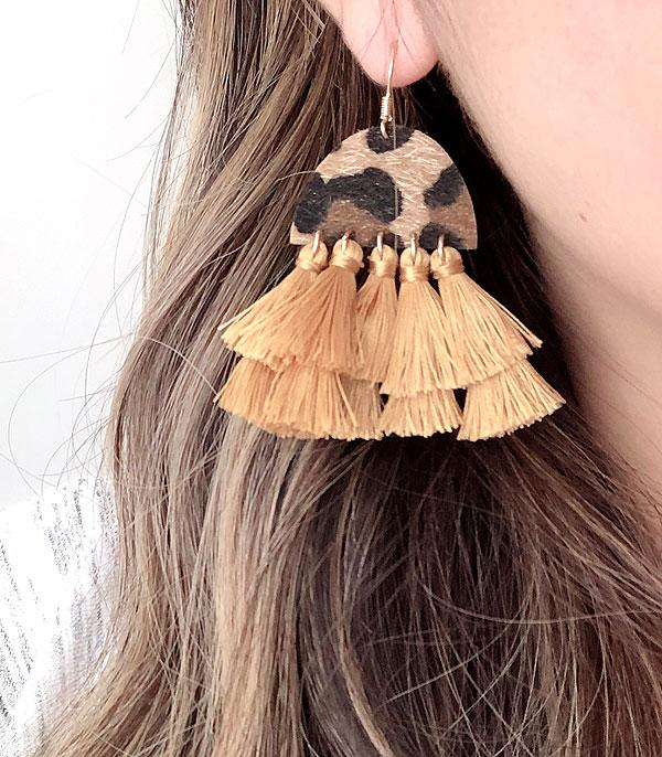 New Arrival :: Wholesale Leopard Tassel Leather Earrings