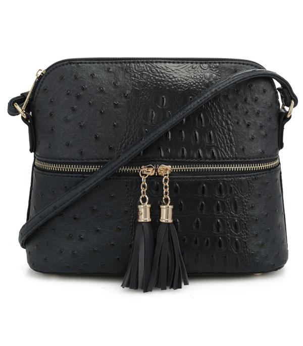 New Arrival :: Wholesale Ostrich Croc Tassel Crossbody Bag