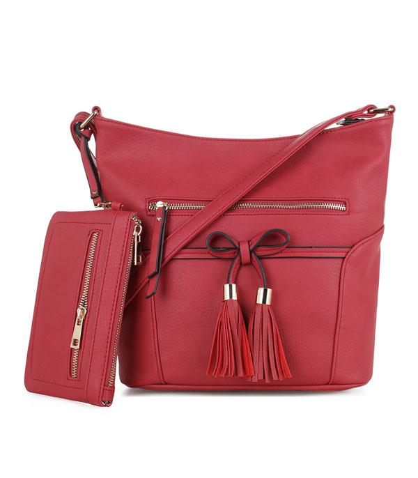 New Arrival :: Wholesale Faux Leather Crossbody Set Bag