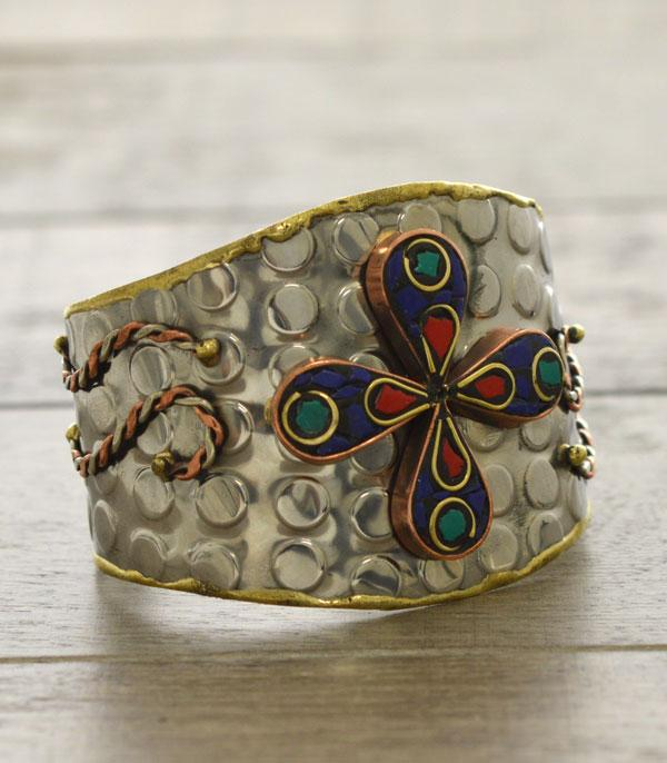 New Arrival :: Wholesale Natural Stone Brass Handmade Cuff