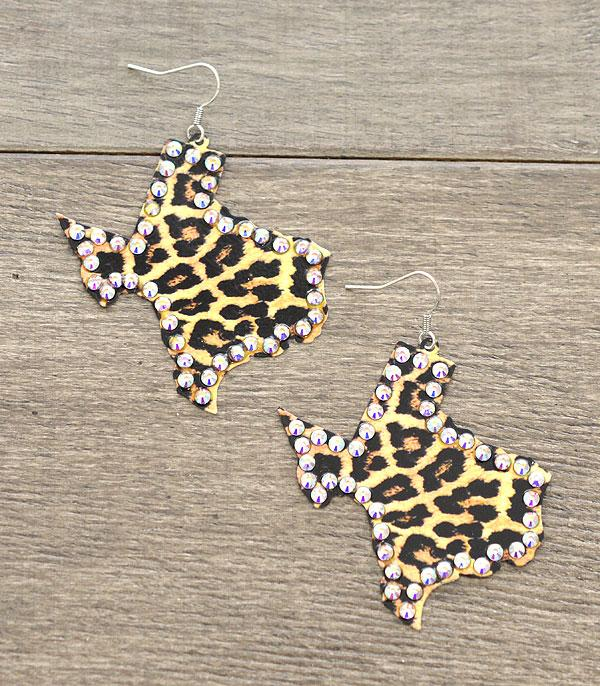 New Arrival :: Wholesale Leopard Texas Map Earrings