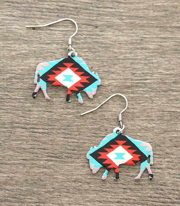 New Arrival :: Wholesale Aztec Buffalo Western Earrings