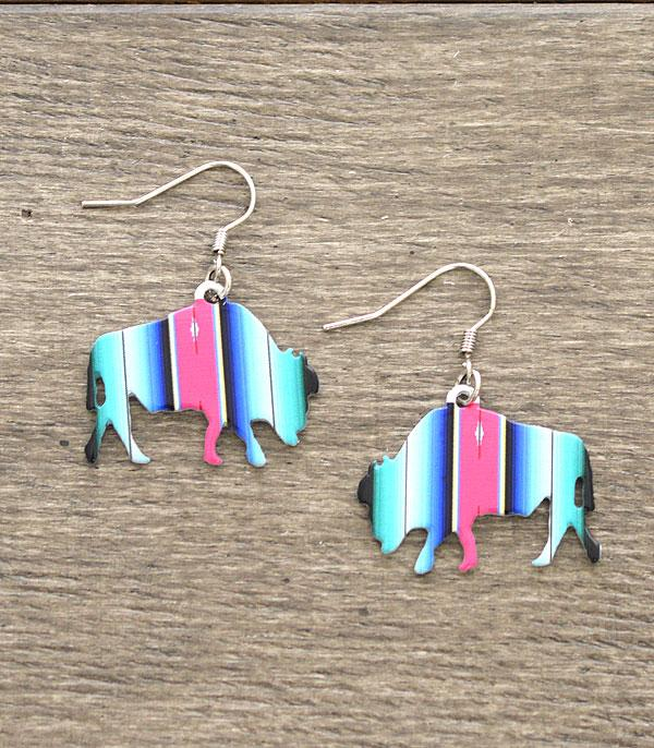 New Arrival :: Wholesale Serape Buffalo Western Earrings