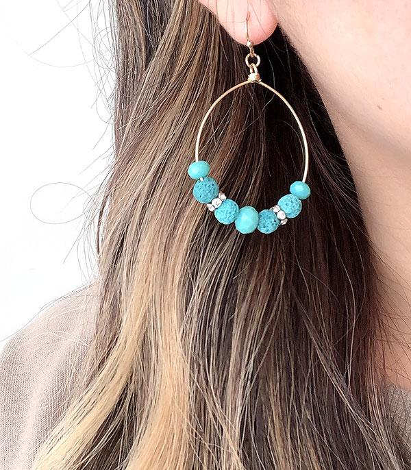 New Arrival :: Wholesale Lava Stone Hoop Earrings