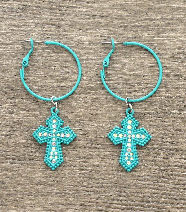 New Arrival :: Wholesale Rhinestone Cross Dangle Hoop Earrings