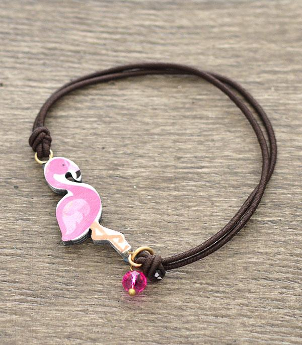 New Arrival :: Wholesale Flamingo Wood Cord Bracelet
