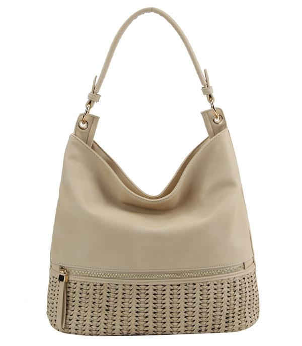 New Arrival :: Wholesale Woven Detail Hobo Bag
