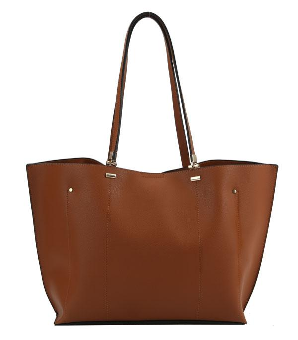 New Arrival :: Wholesale 3 Compartment Classic Faux Leather Tote